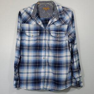 Jachs Girlfriend  Plaid Pearl Snap Shirt